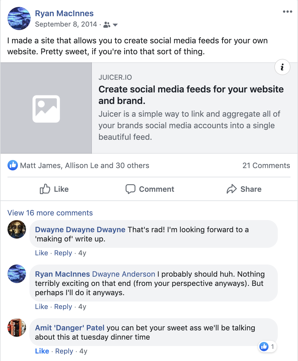 Amit sees Juicer on Facebook